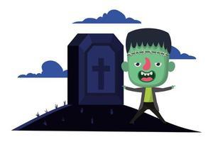 cute little boy with frankenstein costume in cemetery scene vector