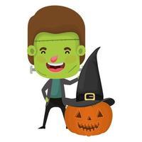 cute little boy with frankenstein costume and pumpkin