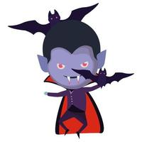 cute little boy with dracula costume and bats flying