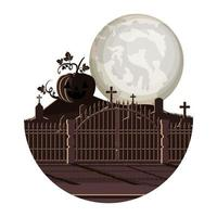 dark cemetery with pumpkin night scene icon