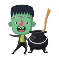cute little boy with frankenstein costume and witch cauldron