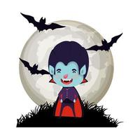boy with dracula costume and bats flying in cemetery vector