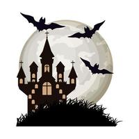 halloween bats flying with castle in night scene vector
