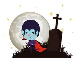 cute little boy with dracula costume in cemetery