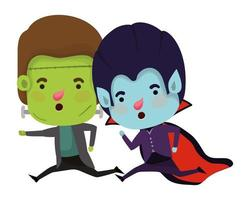 cute little boys with frankenstein and dracula costume