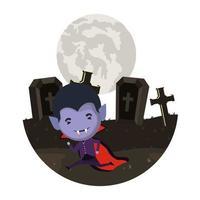 Niño lindo con traje de Drácula en la oscura escena del cementerio vector