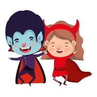 cute little kids with dracula and devil costume