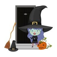 cute little girl with witch costume in house door