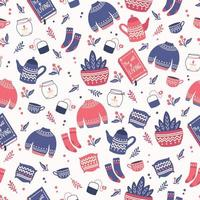 Seamless pattern with hygge concept items. Colorful illustration design. Scandinavian folk motives.