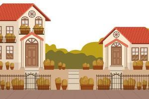 neighborhood with fence metal and plants autumn scene vector