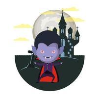 Niño lindo con disfraz de Drácula en la escena del castillo oscuro vector