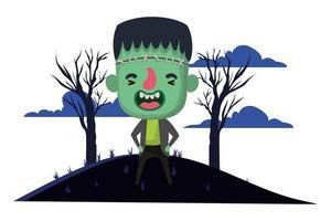 cute little boy with frankenstein costume in dark scene vector