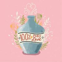 botella de poción de amor con letras a mano. Ilustración colorida dibujada a mano para el feliz día de San Valentín. tarjeta de felicitación con follaje y elementos decorativos.