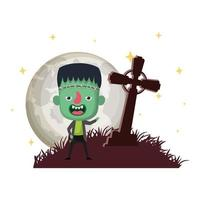 cute little boy with cross cemetery frankenstein costume night scene vector