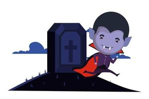 cute little boy with dracula costume and graveyard