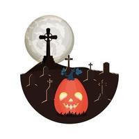 halloween pumpkin with dark face lamp in cemetery scene