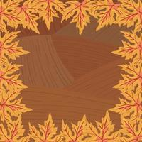 autumn leafs plant seasonal frame in wooden background
