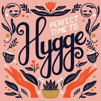 Hygge concept. Colorful hand lettering and illustration design. Scandinavian folk motives. Cozy atmosphere at home. Flat vector illustration.