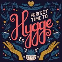 Hygge concept. Colorful hand lettering and illustration design. Scandinavian folk motives. vector