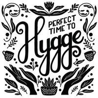 Hygge concept. Black and white hand lettering and illustration design. Scandinavian folk motives. vector