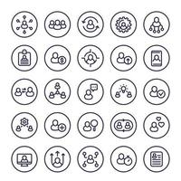 Human resources and personnel management line icons set, HR, staff rotation, interaction, coaching and hiring