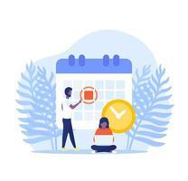 establecer una fecha límite, ilustración vectorial con personas vector