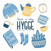 Hygge concept with colorful hand lettering and illustration design. Scandinavian folk motives. Cozy atmosphere at home. Flat vector illustration.