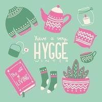 Hygge concept with colorful hand lettering and illustration design. Scandinavian folk motives.