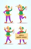 Mardi Gras Jester Character Set vector