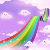 cielo mágico con arcoiris y nubes lindas vector