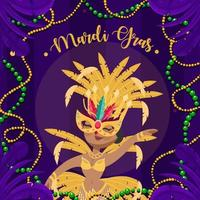 Happy Girl On Mardi Gras Festival Costume