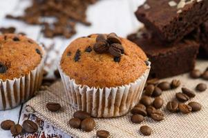 Banana cupcakes mixed with chocolate chips on a white plate