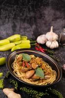 Spaghetti with clams with chilies, fresh garlic and pepper photo