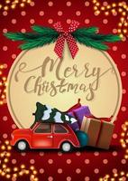 Merry Christmas, red postcard with garland, polka dot texture, big decorative circle with lettering, christmas tree, red bow and red vintage car carrying Christmas tree