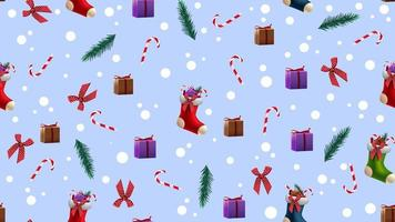 Christmas seamless blue texture with Christmas stockings, Christmas tree branches, candy canes, presents and bows vector