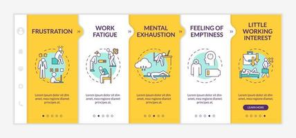 Burnout onboarding vector template. Lazy employee. Mental exhaustion. Feeling of emptiness. Work fatigue.