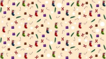 Christmas texture with Christmas tree branches, Christmas stockings, candy canes, presents and bows vector