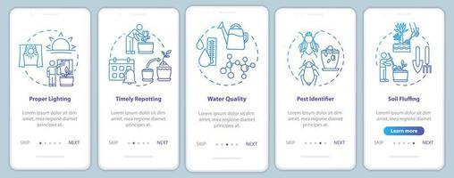 Las flores se refieren a la pantalla de la página de la aplicación móvil incorporada con conceptos. vector