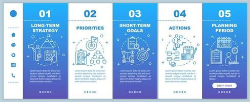 Strategy for business onboarding vector template. Priorities and actions. Planning period.