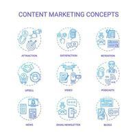 conjunto de iconos de concepto de marketing de contenidos. vector