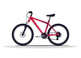 Red bicycle semi flat RGB color vector illustration
