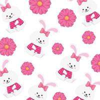 background of cute rabbits female with flowers vector