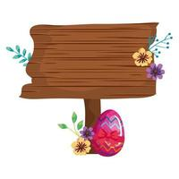 signal way wooden with egg easter and flower vector