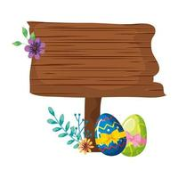 signal way wooden with eggs easter and flower vector