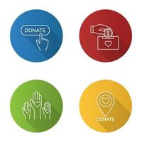 Charity flat linear long shadow icons set
