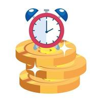pile coins with alarm clock isolated icon