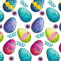 background of cute eggs easter with flowers vector