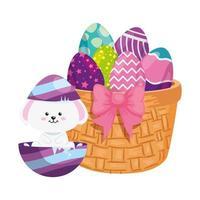 Conejo y lindos huevos de pascua decorados con canasta de mimbre vector