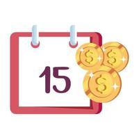 coins money with calendar reminder vector