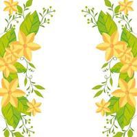 Marco de lindas flores con hojas icono aislado vector